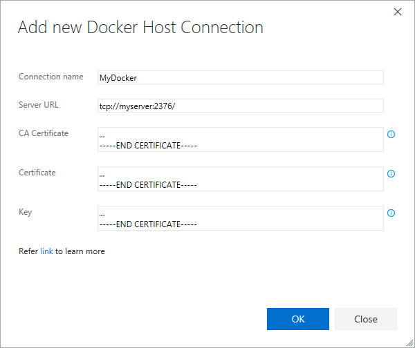 New Docker Host Connection
