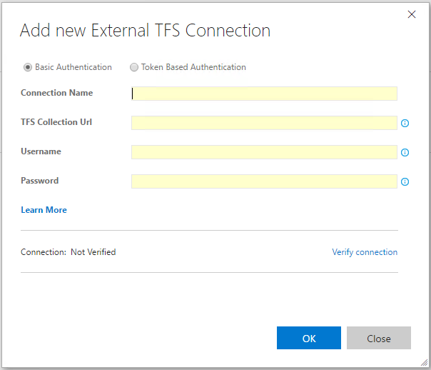 Creating an external TFS/VS-Team-Services service endpoint connection