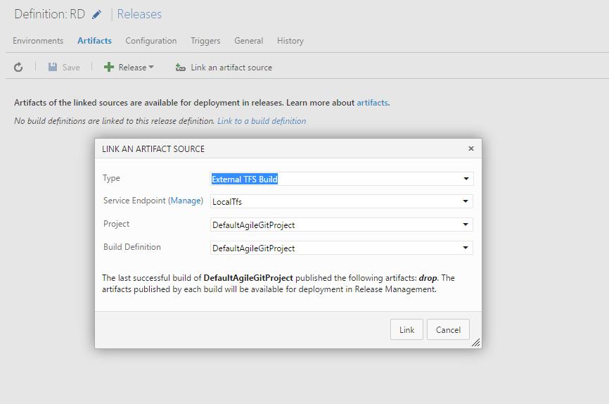 Linking an external TFS/VS-Team-Services artifact