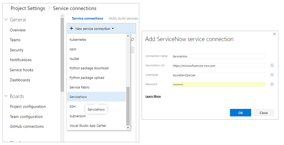ServiceNow connection