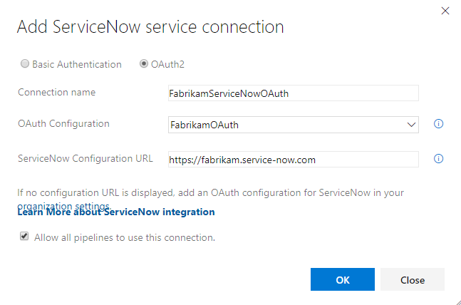 Add OAuth service connection